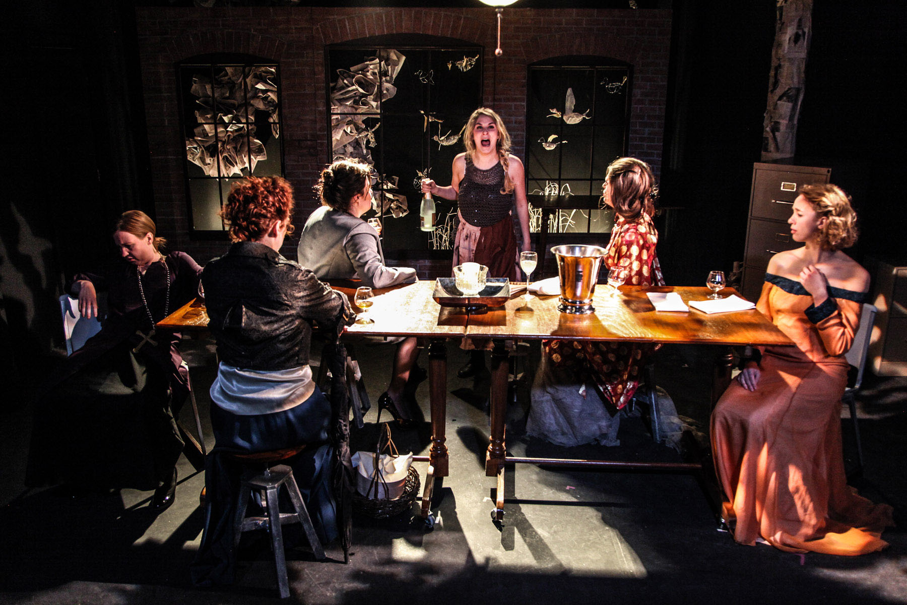 Kelsey Phillips (center) and the cast of The Arc Theatre's production of TOP GIRLS by Caryl Churchill, directed by Mark Boergers/Photo: Emily Schwartz.