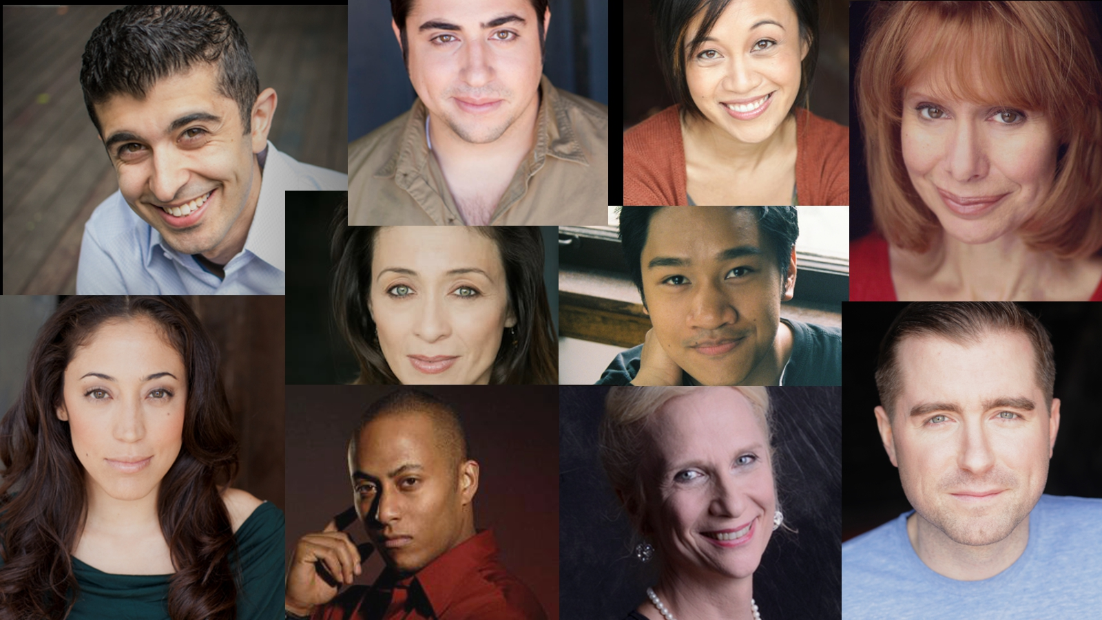 Top row from left: Behzad Dabu, Todd Garcia, Emjoy Gavino, Barbara Robertson  Bottom row from left: Yunuen Pardo, Anthony Fleming III, Delia Kropp, Michael Patrick Thornton  Middle: Charin Alvarez, Bryan Bosque