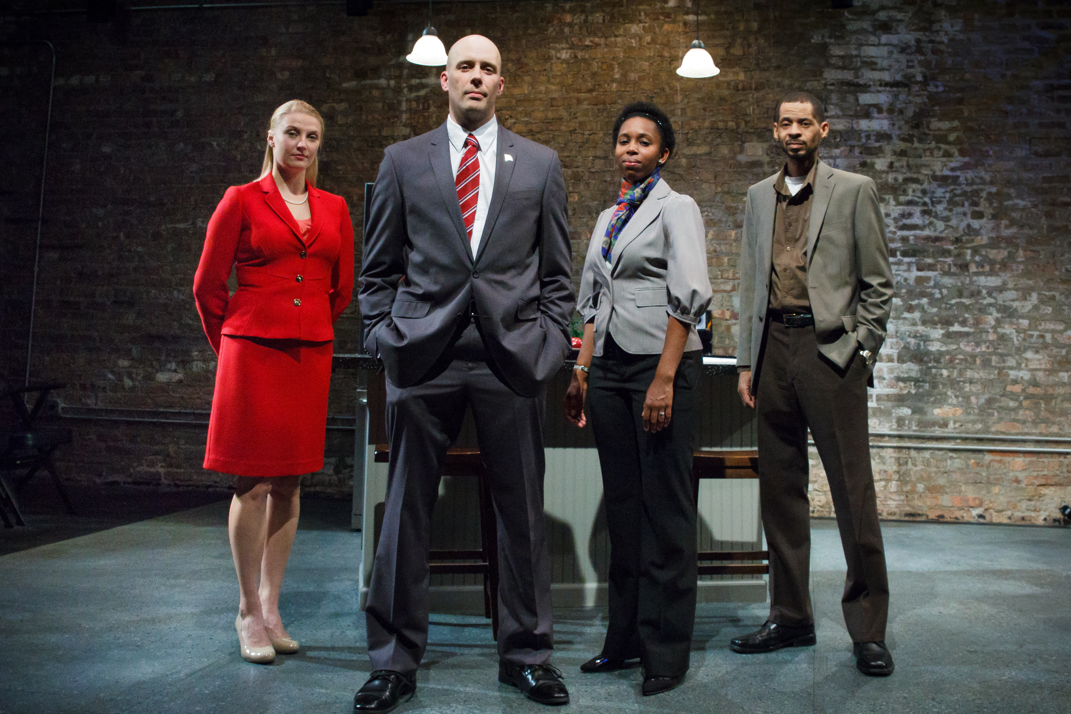 Melanie Derleth as Leslie, Vance Smith as Patrick, Kanome Jones as Gaby, and David Lawrence Hamilton as Jamal in The Firestorm by Meridith Friedman. Photo by Ian McLaren