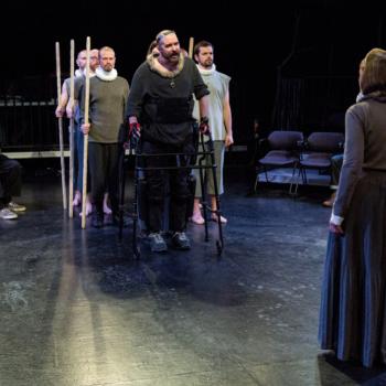 Michael Patrick Thornton (center) and ensemble/Photo credit: Claire Demos
