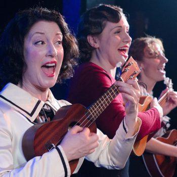 "Sarah Goeden, Justine C Turner, Nicole Bloomsmith in Strawdog Theatre Company's ""Once in a Lifetime""/Photo: Tom McGrath"