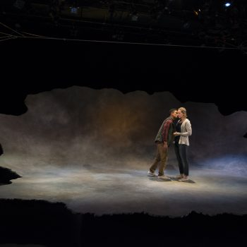"Jon Michael Hill and Jessie Fisher in ""Constellations"" at Steppenwolf Theatre Company/Photo: Michael Brosilow"