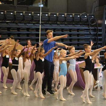 "Christopher Wheeldon in rehearsal with ""The Nutcracker"" children cast. Photo: Temur Sulashvili."