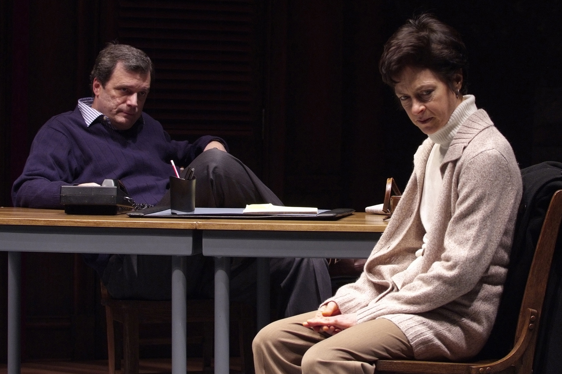 """Steppenwolf artistic director, right, with John Procaccino in """"Good Boys and True""""/Photo: Michael Brosilow"""