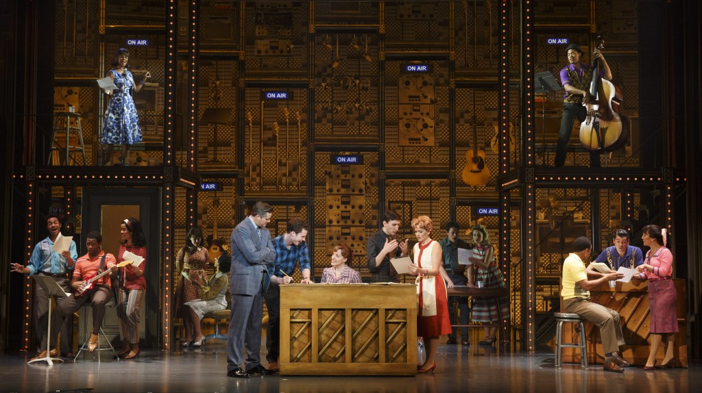 "(L to R) Curt Bouril, Liam Tobin, Abby Mueller, Ben Fankhauser, Becky Gulsvig and the Company of ""Beautiful: The Carole King Musical""/Photo: Joan Marcus"