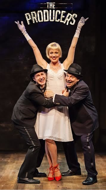 "Matt Crowle, Allison Sill and Bill Larkin in ""The Producers"" at Mercury Theater Chicago/Photo: Time Stops Photography"