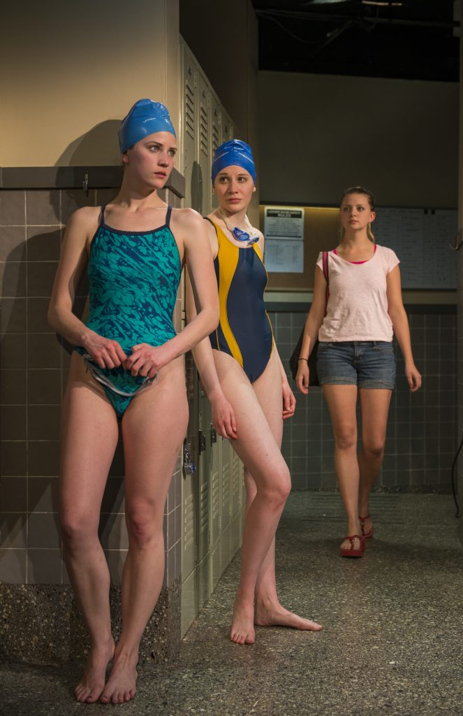 """Bryce Gangel, Jessica Ervin and Charlotte Thomas in """"Dry Land"""" at Rivendell Ensemble Theatre/Photo: Michael Brosilow"""