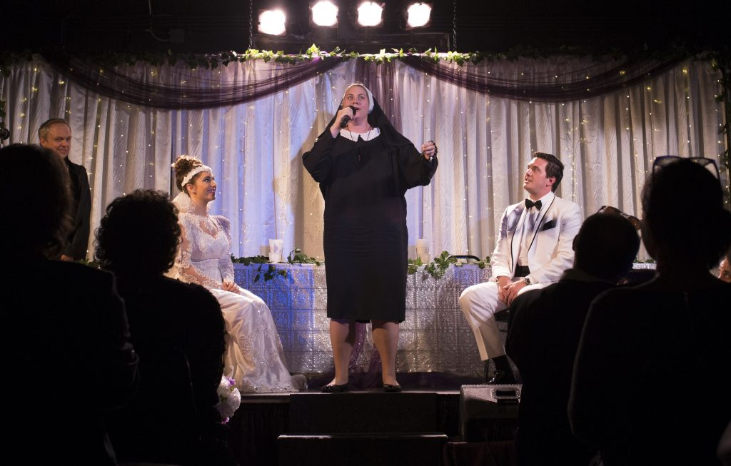 "Billy Minshall, Hannah Aaron Brown, Alisha Fabbi and Mitchell Conti in ""Tony 'n Tina's Wedding"""