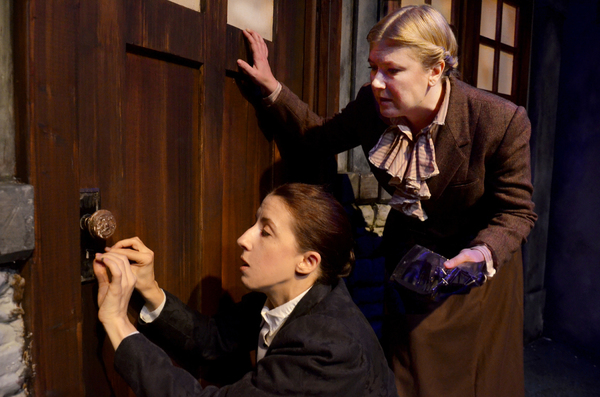 """Katie McLean Hainsworth and Mandy Walsh in Lifeline Theatre's """"Miss Holmes"""""""