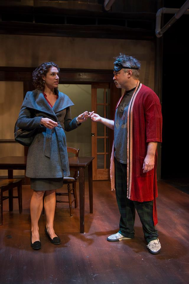 "Eleni Papageorge and Peter DeFaria in Jeff Daniels' ""Apartment 3A"" at Windy City Playhouse/Photo: Michael Brosilow"